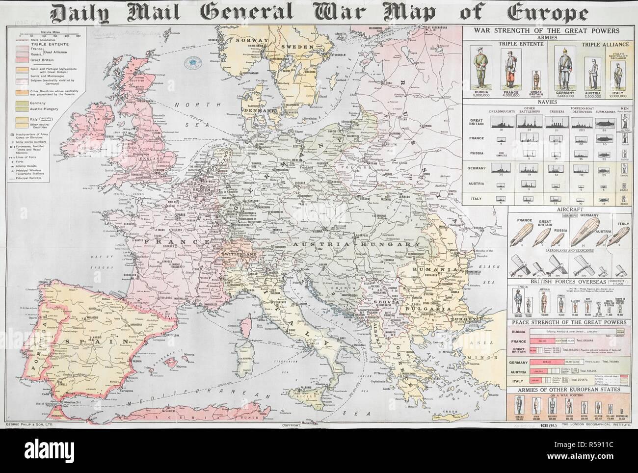 Karte Von Europa 1914.Daily Mail Allgemeinen Krieg Karte Von Europa Daily Mail