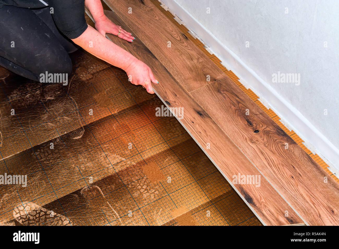 Handwerker verlegt Laminat Stockbild