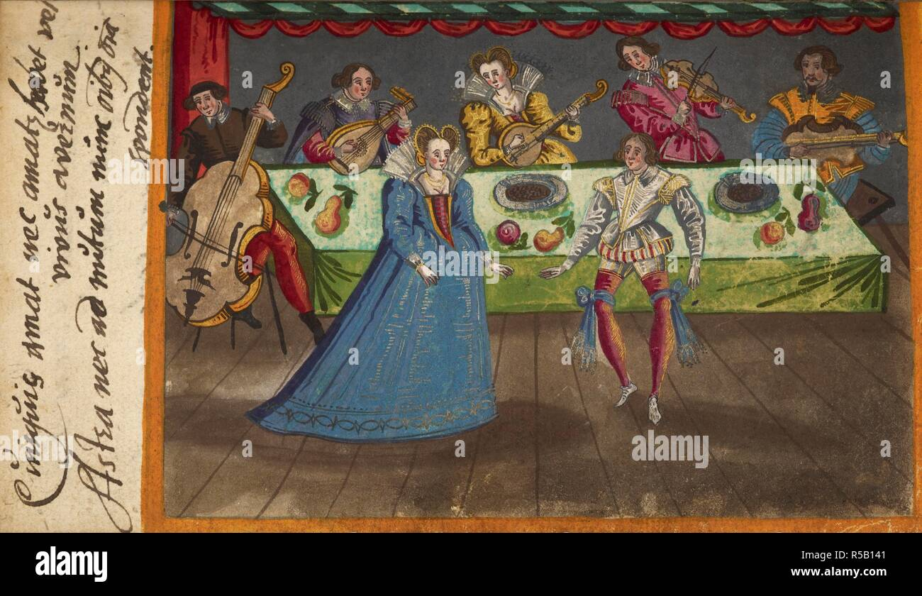 Musiker spielen Instrumente, darunter ein Cello, Laute und Fiedel, sitzen um einen Tisch, mit ein paar tanzen. Album von Johannes Cellarius. Deutschland [Nürnberg]; ca. 1600-1606. Zeichnung. Quelle: Hinzufügen. 27579, f.149 v. Sprache: Latein. Stockbild