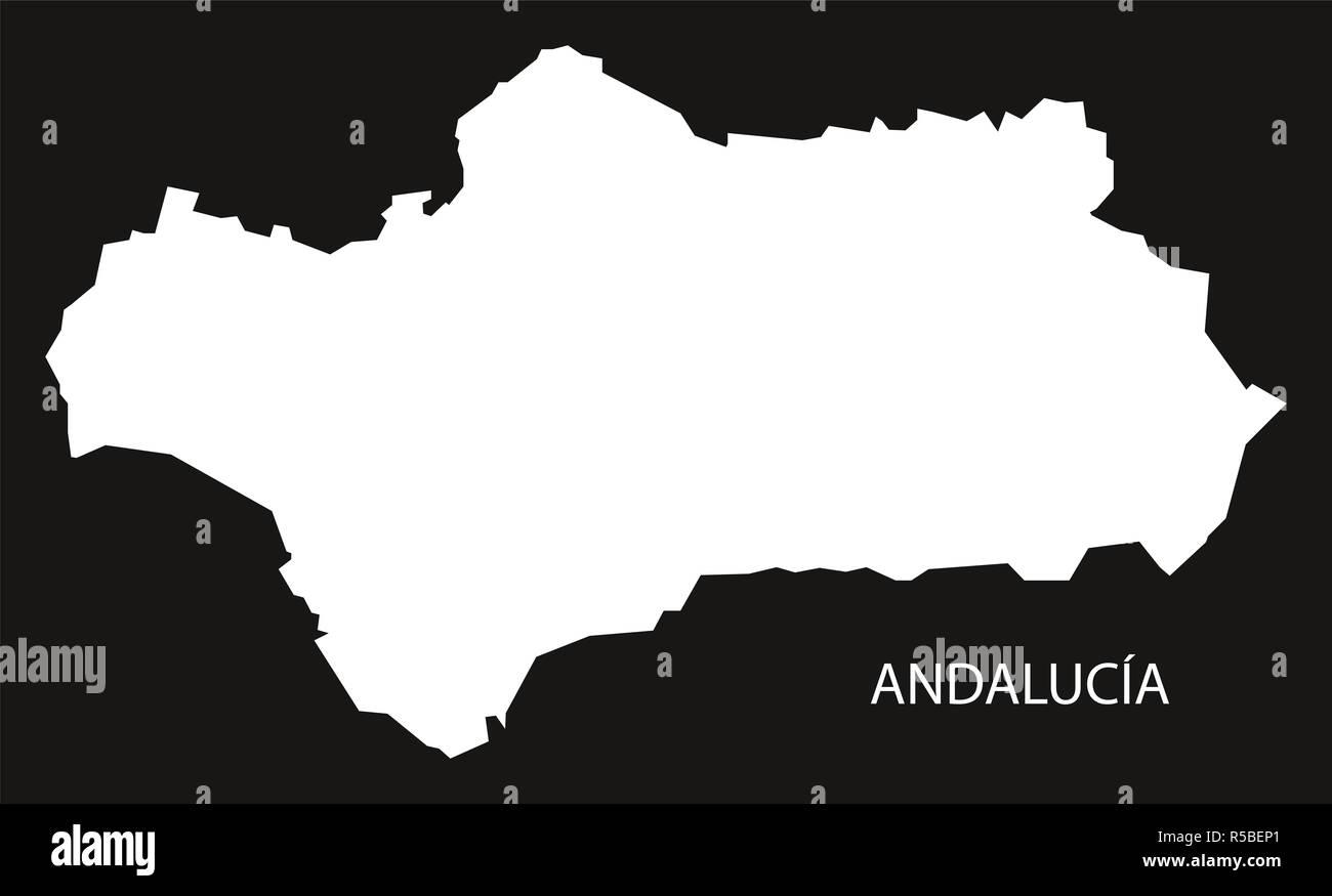 Andalusien Karte Spanien.Andalusien Spanien Karte Schwarz Invertiert Silhouette Abbildung