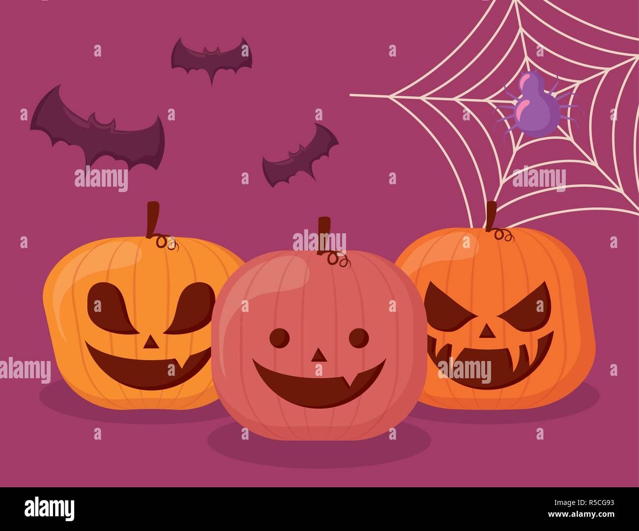 Stellen Sie kürbisse Halloween mit Spinne und Fledermäuse Vector Illustration Design Stockbild