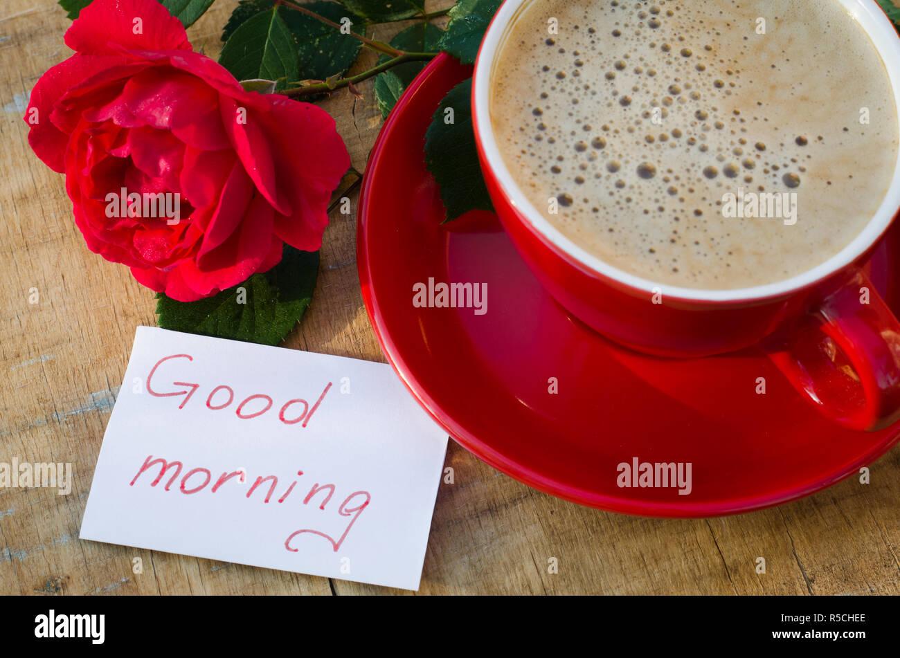 Kaffeetasse Mit Roter Rose Blume Und Notizen Guten Morgen