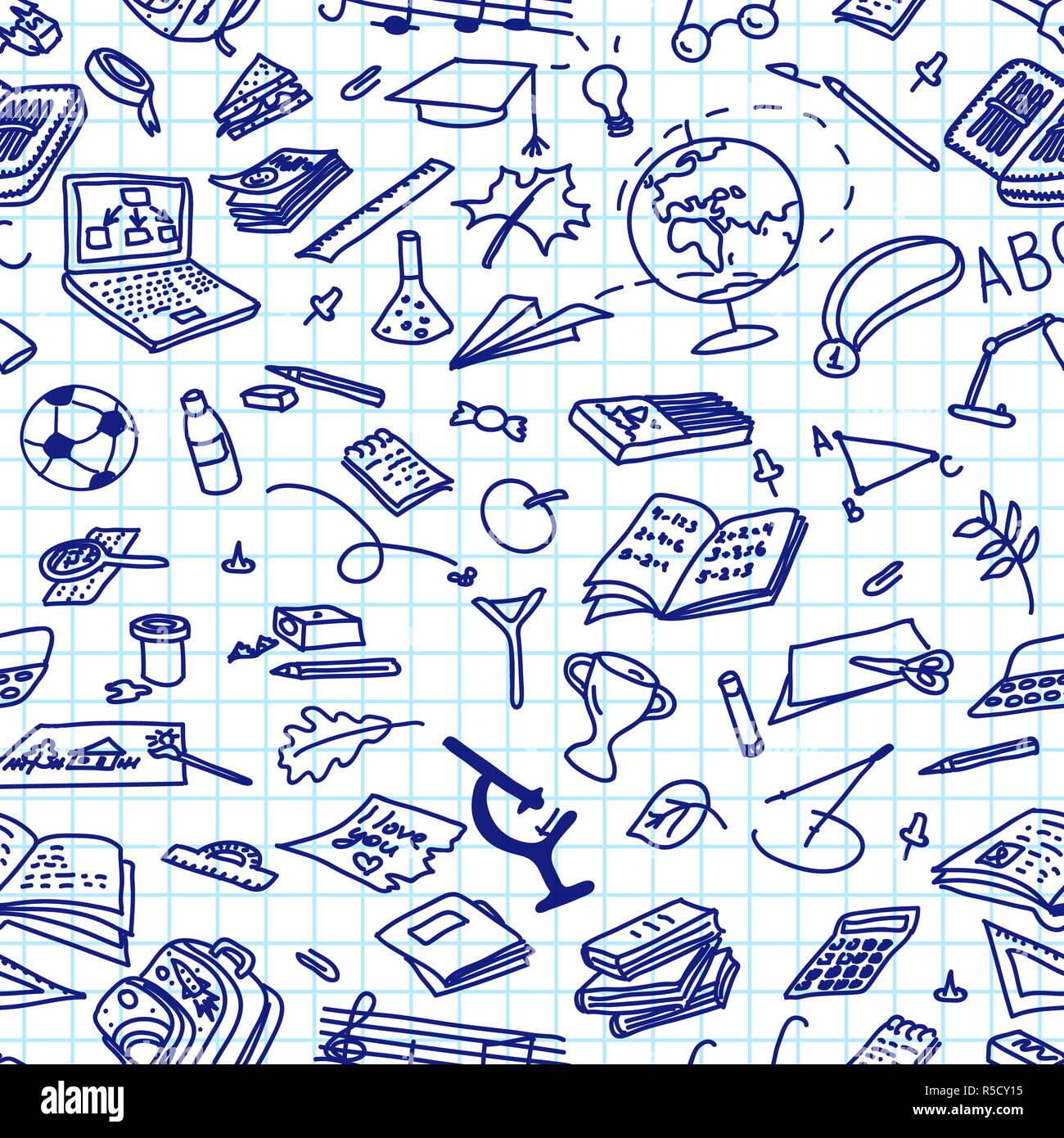 Zurück Zur Schule Hand Gezeichnete Blaue Tinte Silhouetten Auf