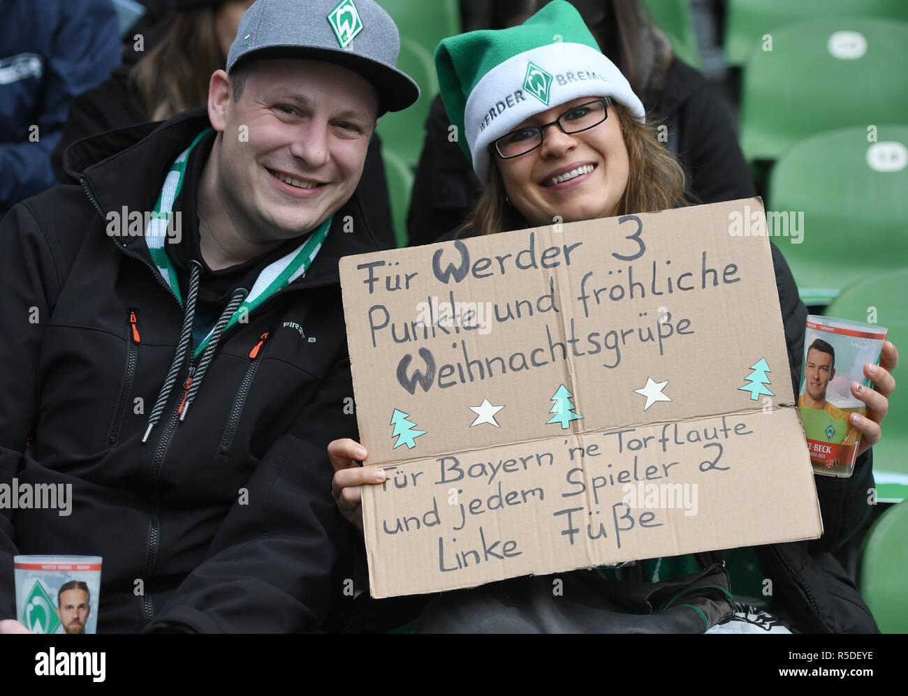 Frohe Weihnachten Werder Bremen.01 Dezember 2018 Bremen Fussball Bundesliga Werder Bremen