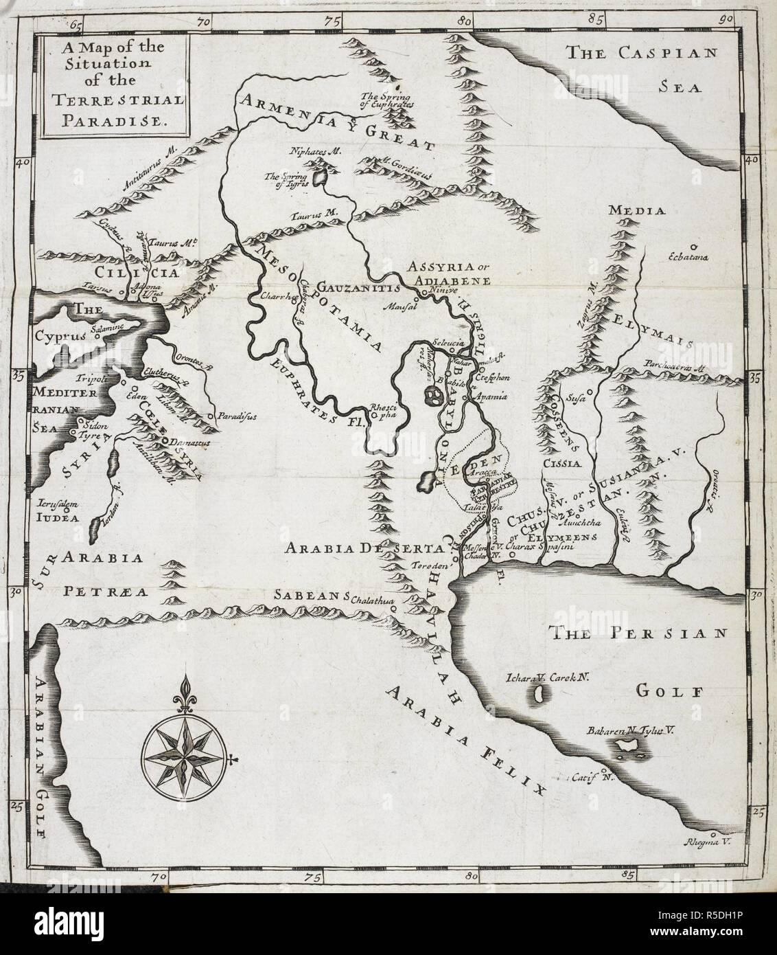 Babylon Karte.Eine Karte Von Der Lage Der Terrestial Paradies Der Garten Eden