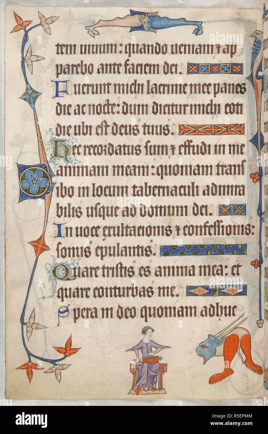 f1df9cc9088c Psalm 41  Frau spielen eine kleine Drehorgel. Luttrell Psalter. England   East Anglia