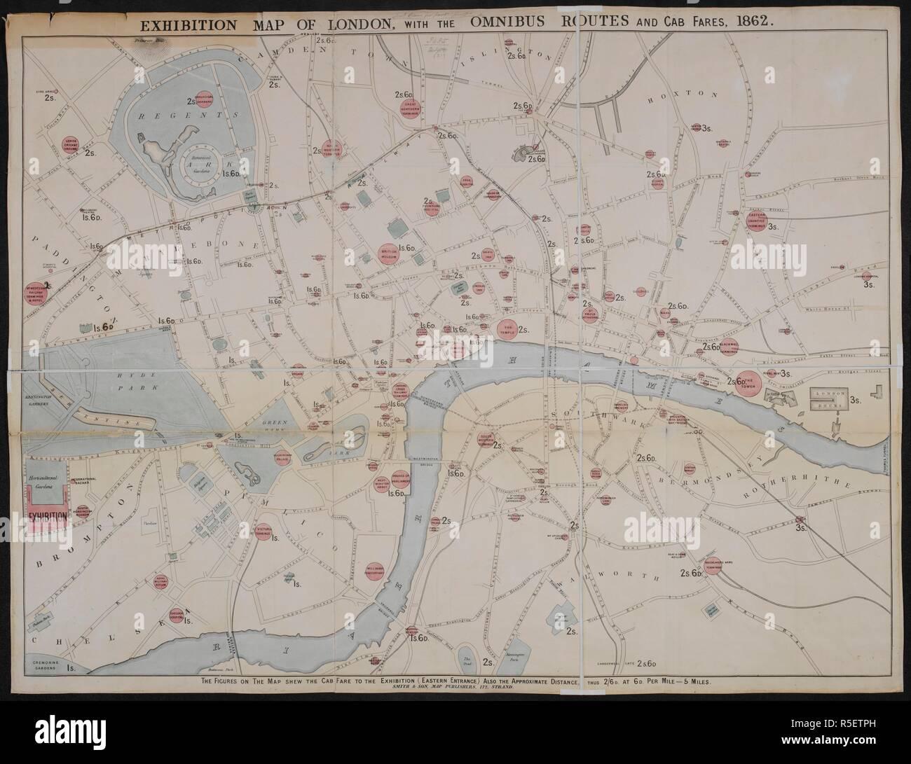Karte London.Ausstellung Karte Von London Mit Dem Omnibus Routen Und Cab Tarife