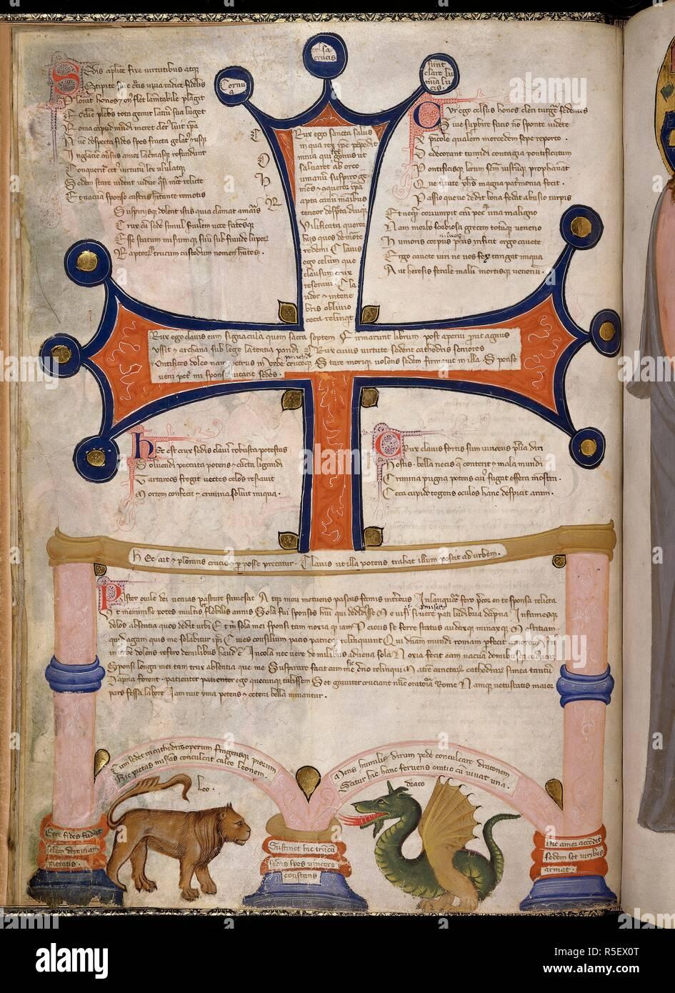 Miniatur Des Kreuzes In Den Päpstlichen Stuhl Mit Einem Löwen Und