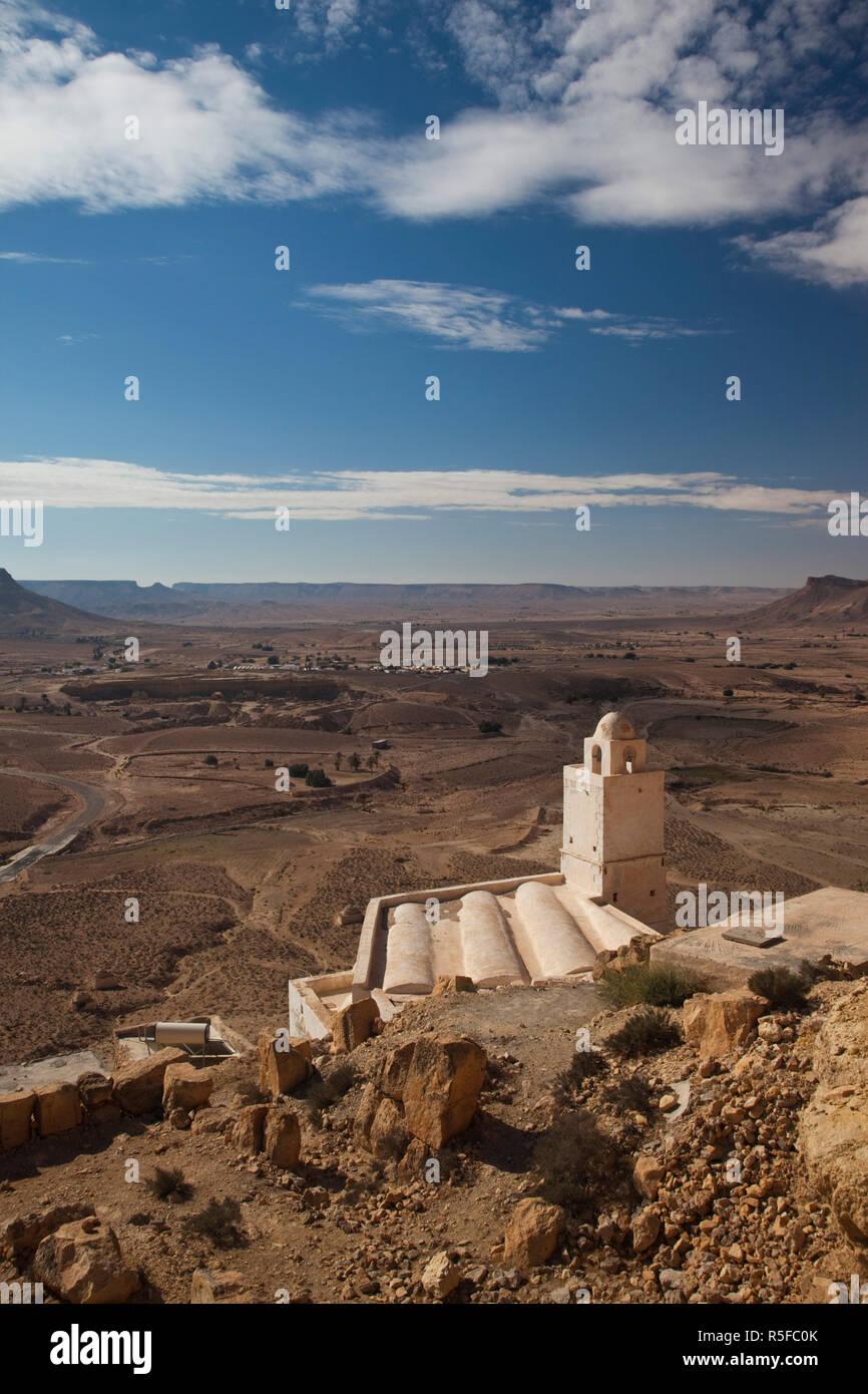 Tunesien, Ksour-Bereich, Speicherburg, Berber Stadt, Moschee Ansicht aufgegeben Stockbild