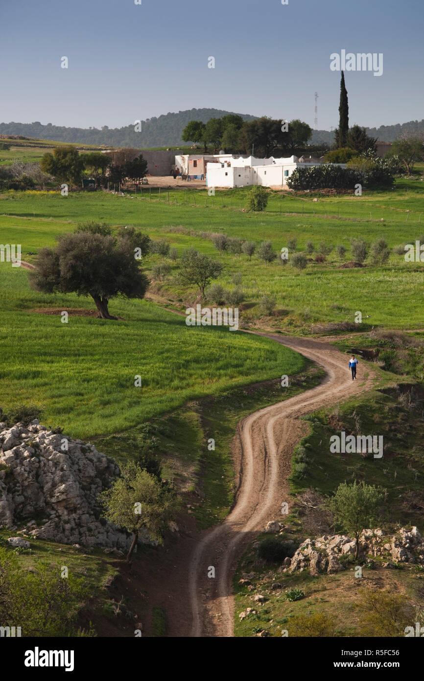 Tunesien, Central Western Tunesien, El Krib, Teboursouk Berge Landschaft, Frühling Stockbild