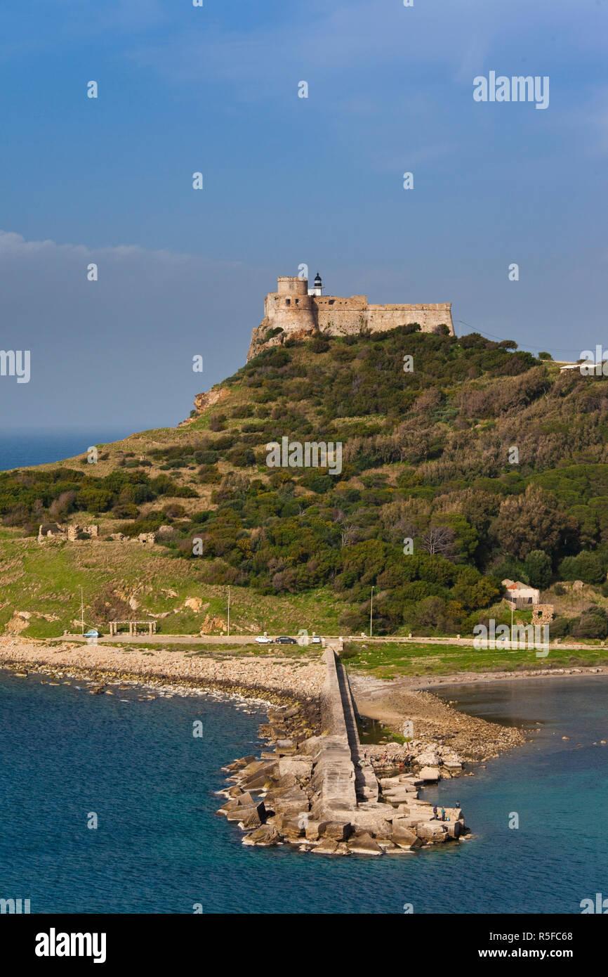 Tunesien Norden Tunesien, Tabarka, genuesische Fort und Leuchtturm Stockbild