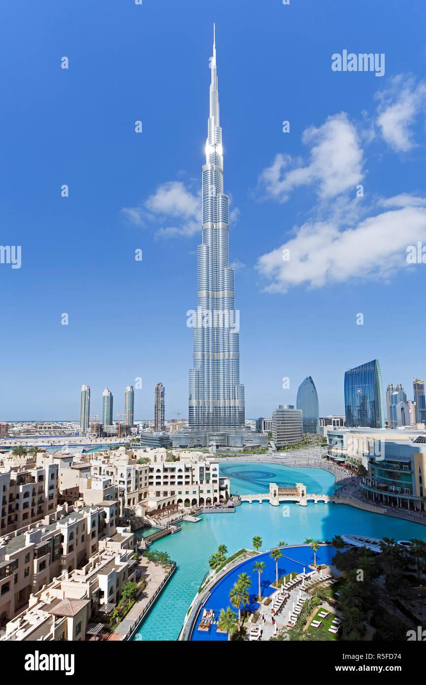 Das Burj Khalifa, abgeschlossen im Jahr 2010 die höchsten künstlichen Bauwerk der Welt, Dubai, Vereinigte Arabische Emirate Stockfoto
