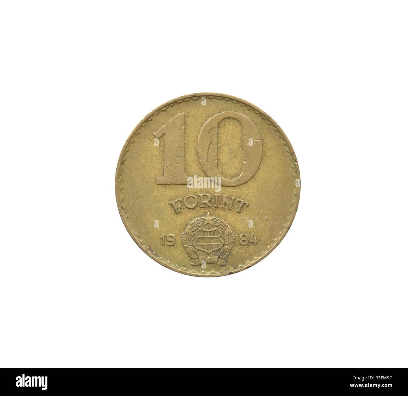 Umkehrbuchung Von 10 Ungarischen Forint Münze Zeigt Die Wappen Und