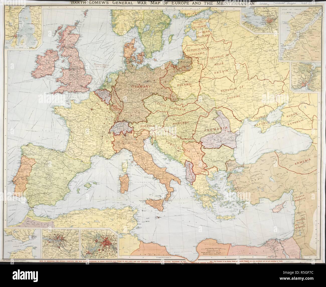 Mittelmeer Karte Europa.Krieg Karte Von Europa Und Dem Mittelmeerraum Bartholomew S