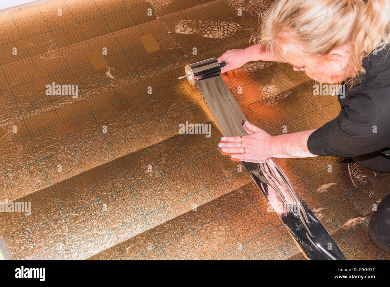 Vinyl Laminat im alten Gebäude Stockbild