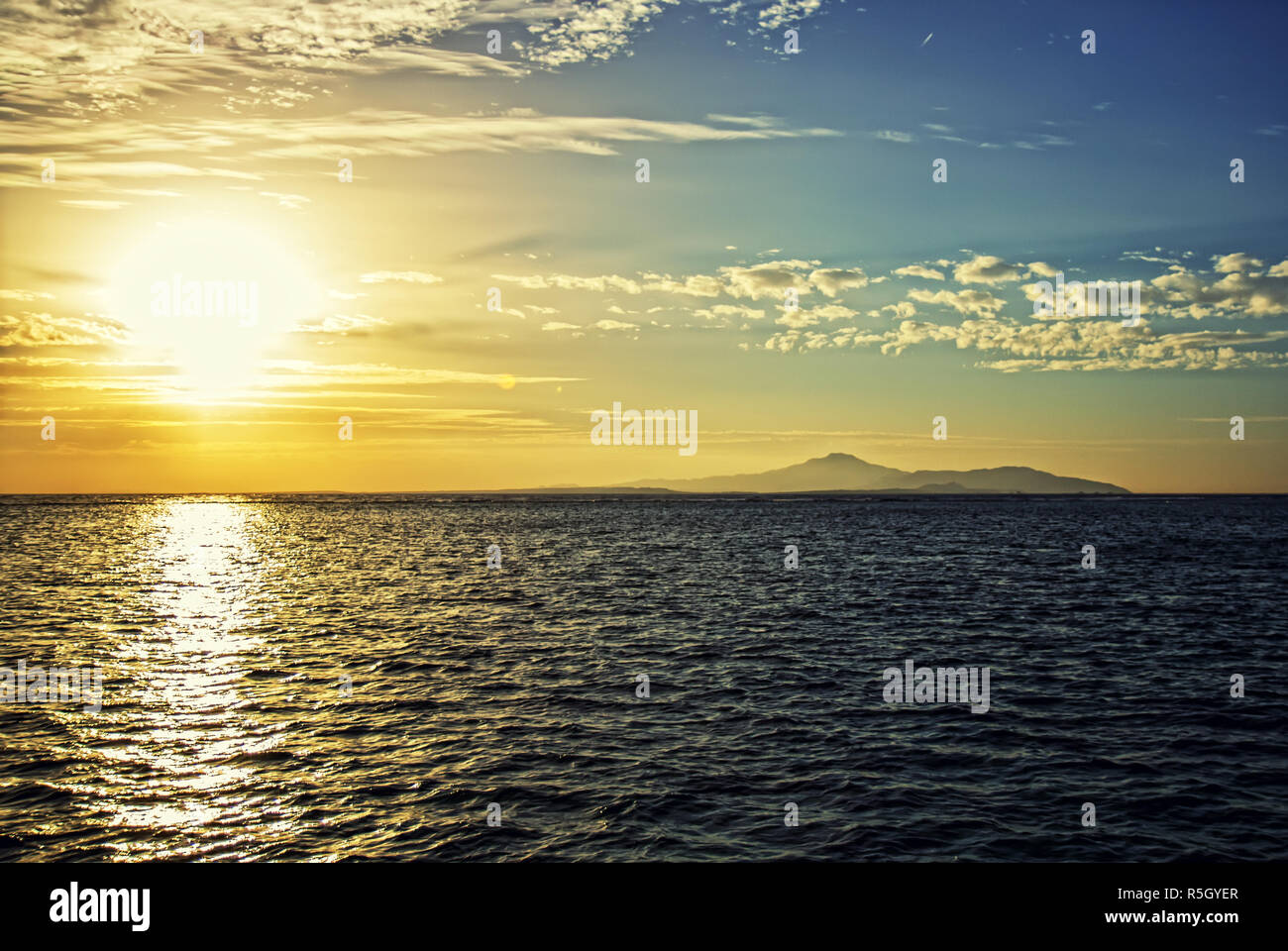 Sunrise Insel Tiran Stockbild