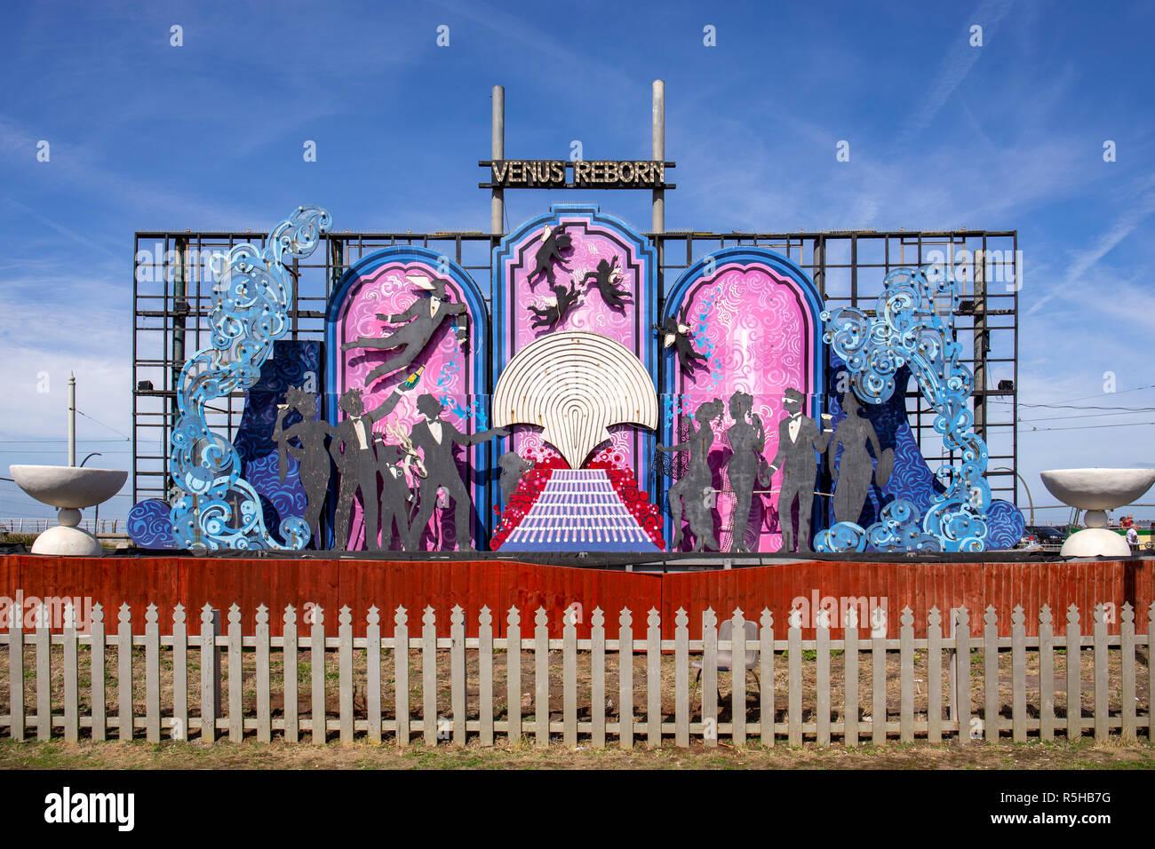 Venus reborn animierte Tableau entworfen von Laurance Blacpool Llewelyn-Bowen für die Beleuchtung auf der Promenade, Blackpool Lancashire, Großbritannien Stockbild