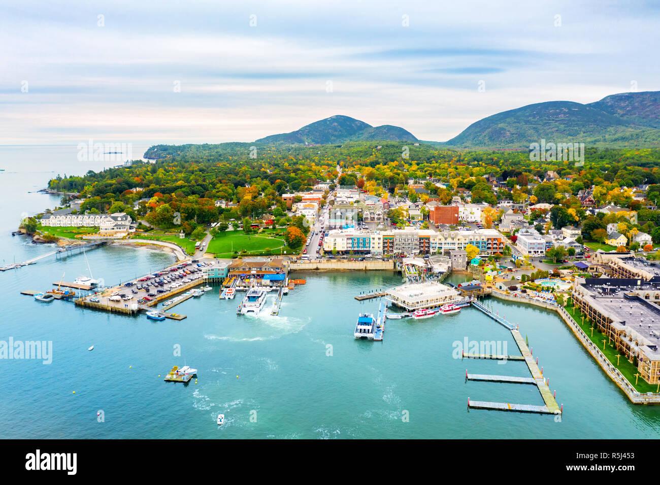Luftaufnahme von Bar Harbor, Maine Stockfoto