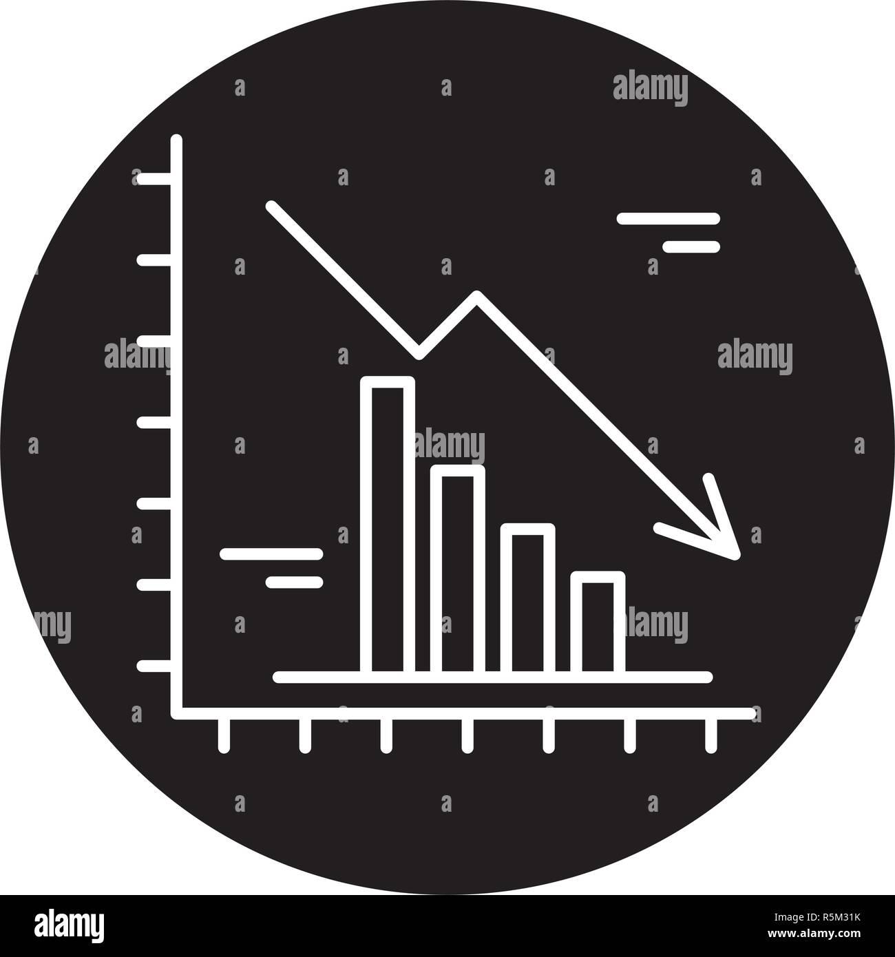 Fallende Märkte schwarze Symbol, Vektor Zeichen auf isolierten Hintergrund. Fallende Märkte Konzept Symbol, Abbildung Stockbild