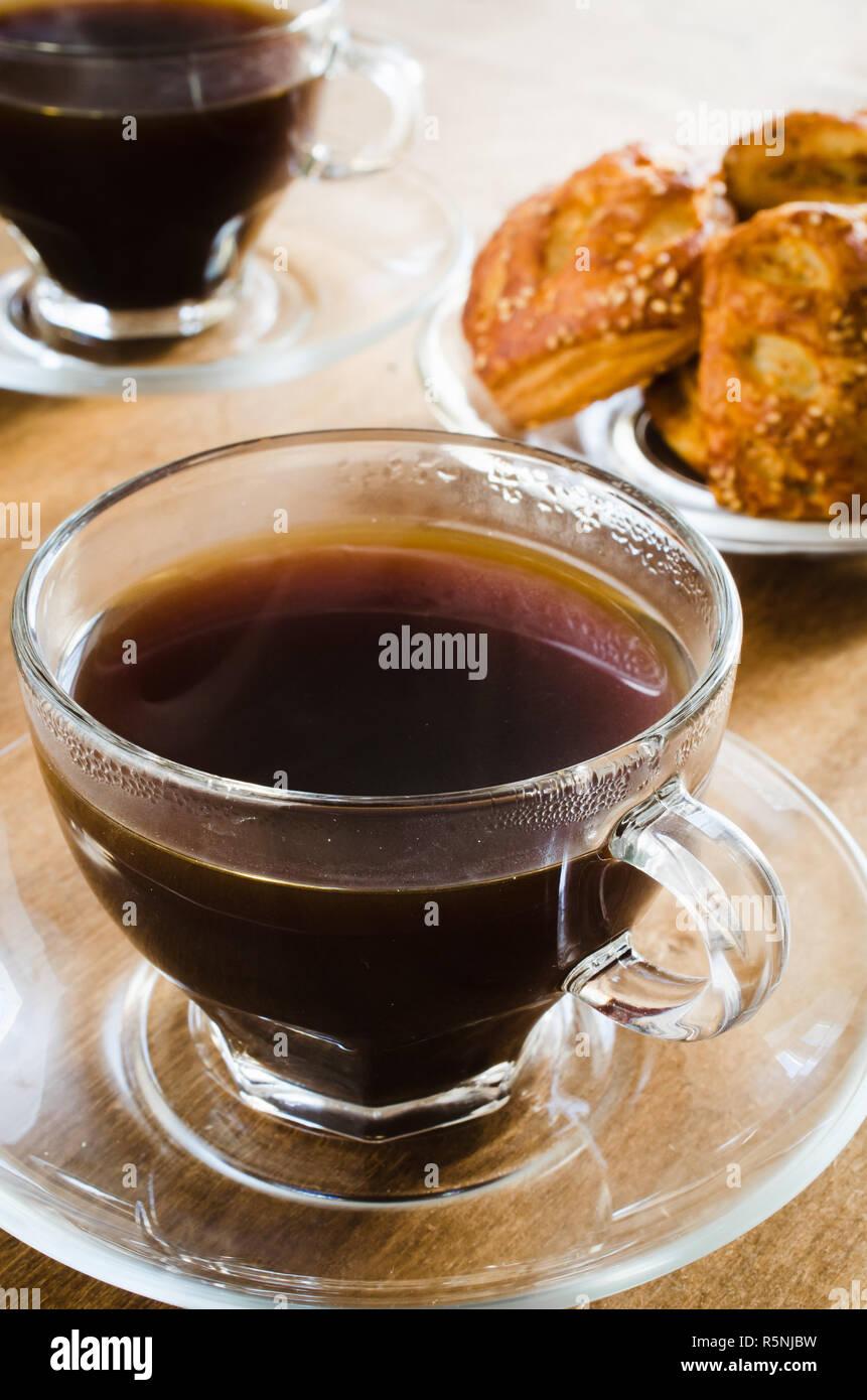 Zwei Tassen Kaffee Und Kuchen Guten Morgen Konzept