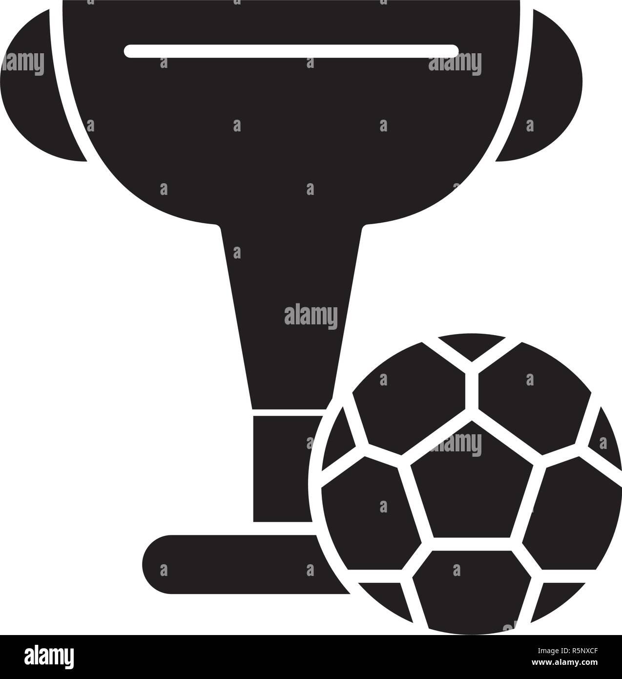 Fussball Cup Schwarzes Symbol Vektor Zeichen Auf Isolierten