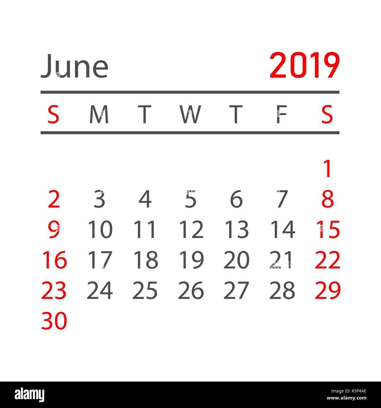 kalender juni 2019