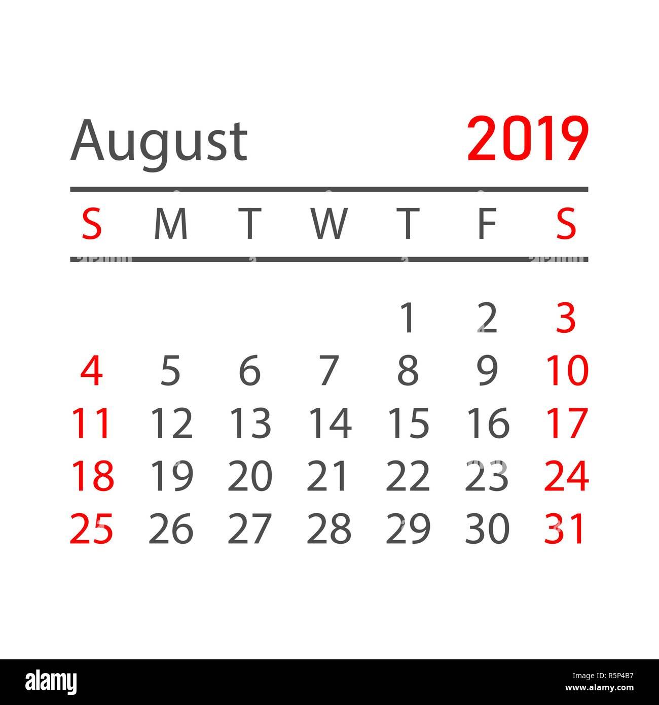 Kalender August 2019 Jahr In Einem Einfachen Stil Kalender Planer