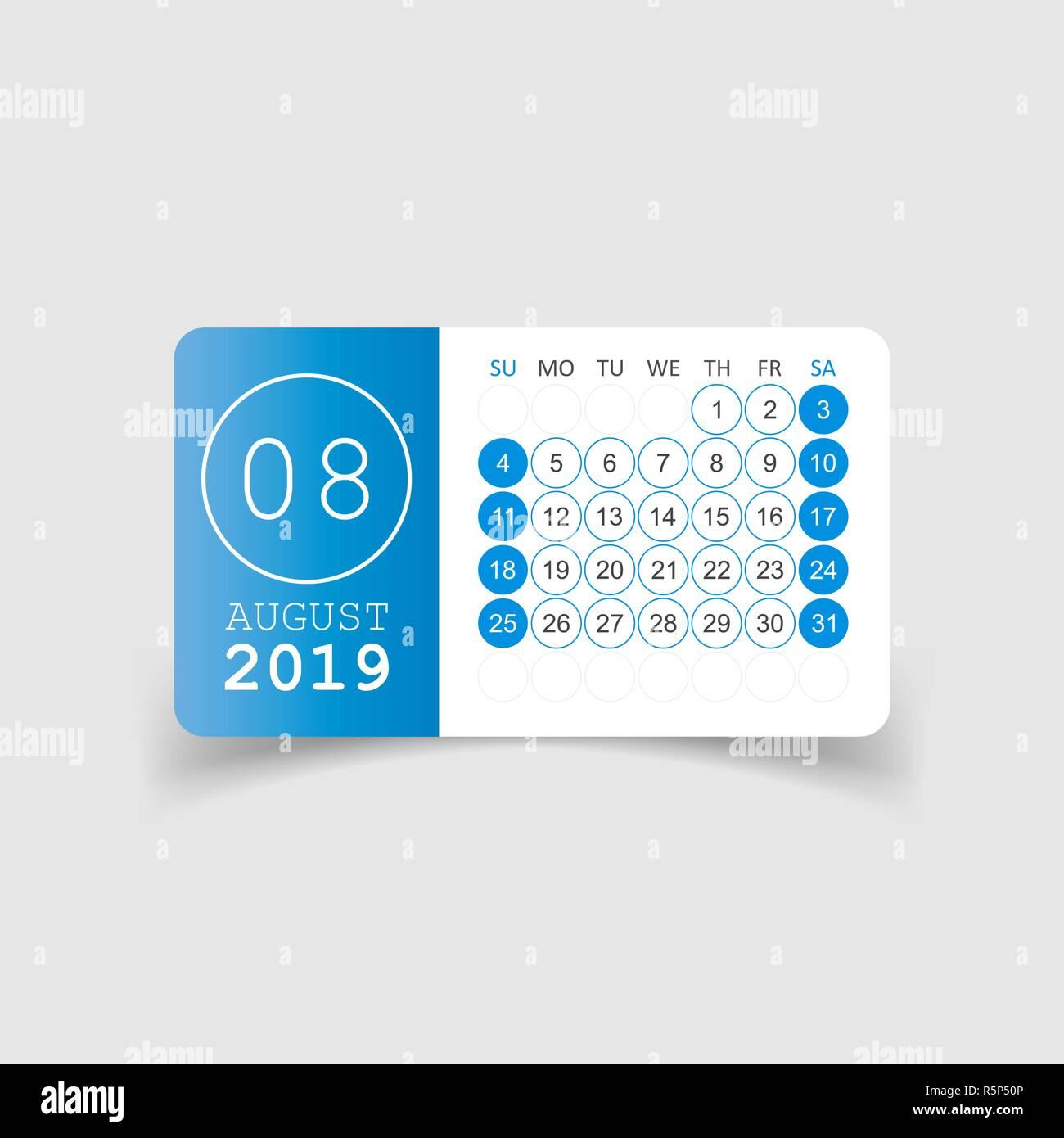 Kalender August 2019 Jahr In Papier Aufkleber Mit Schatten Kalender