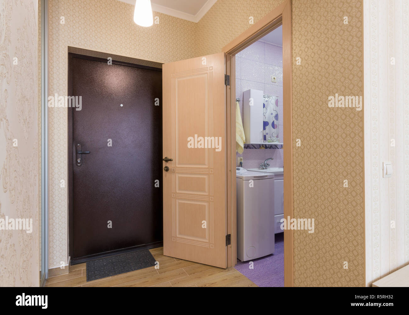 Eingangshalle, der Innenraum, die vordere Tür und Tür zum Badezimmer ...