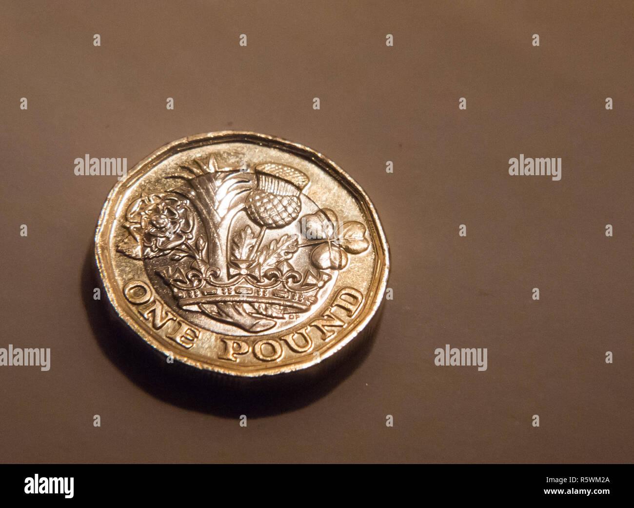 Großbritannien England British Pound Münze Isoliert Makro Stockfoto