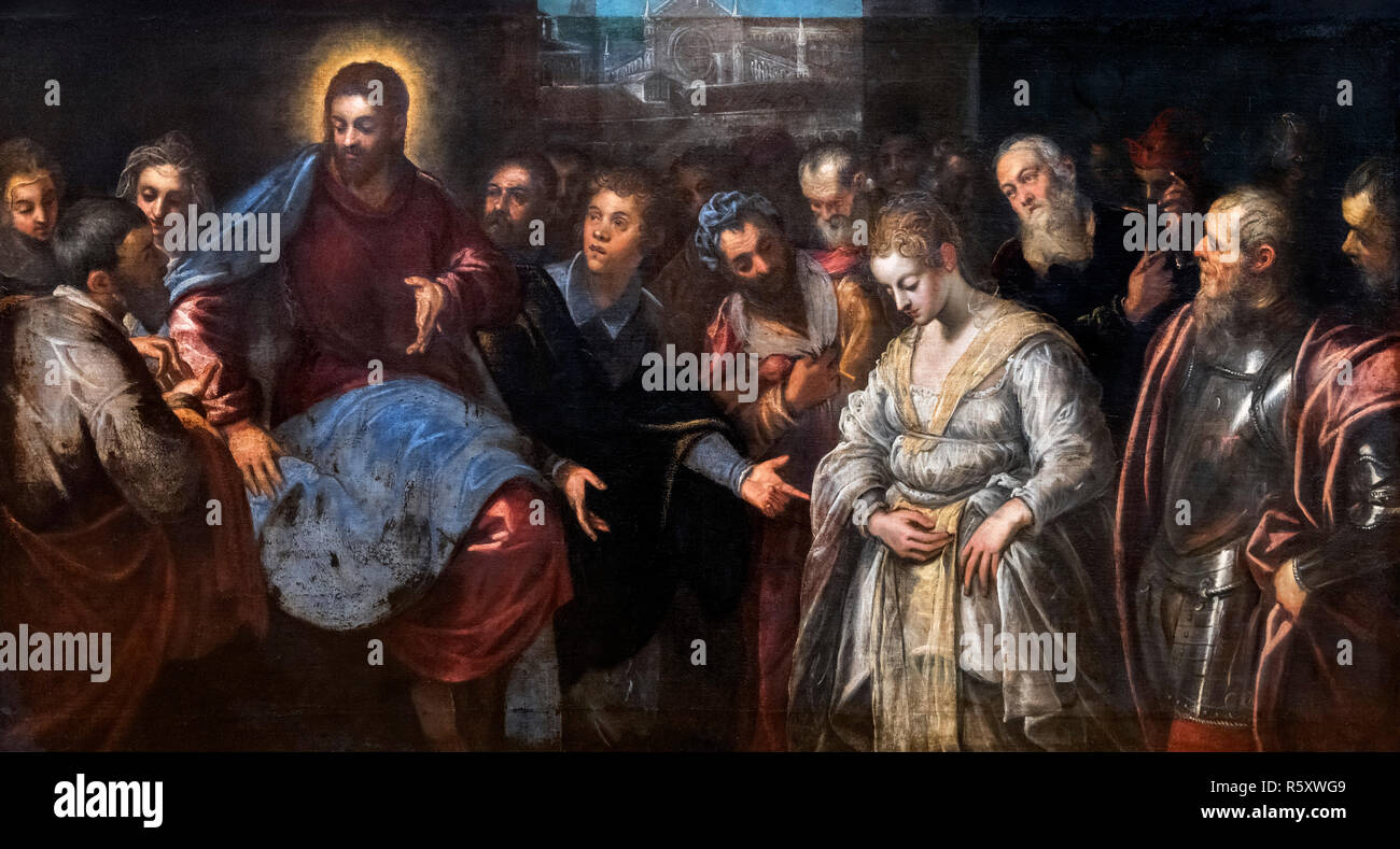 Christus und die Ehebrecherin von Domenico Tintoretto (1560-1635), Öl auf Leinwand Stockbild