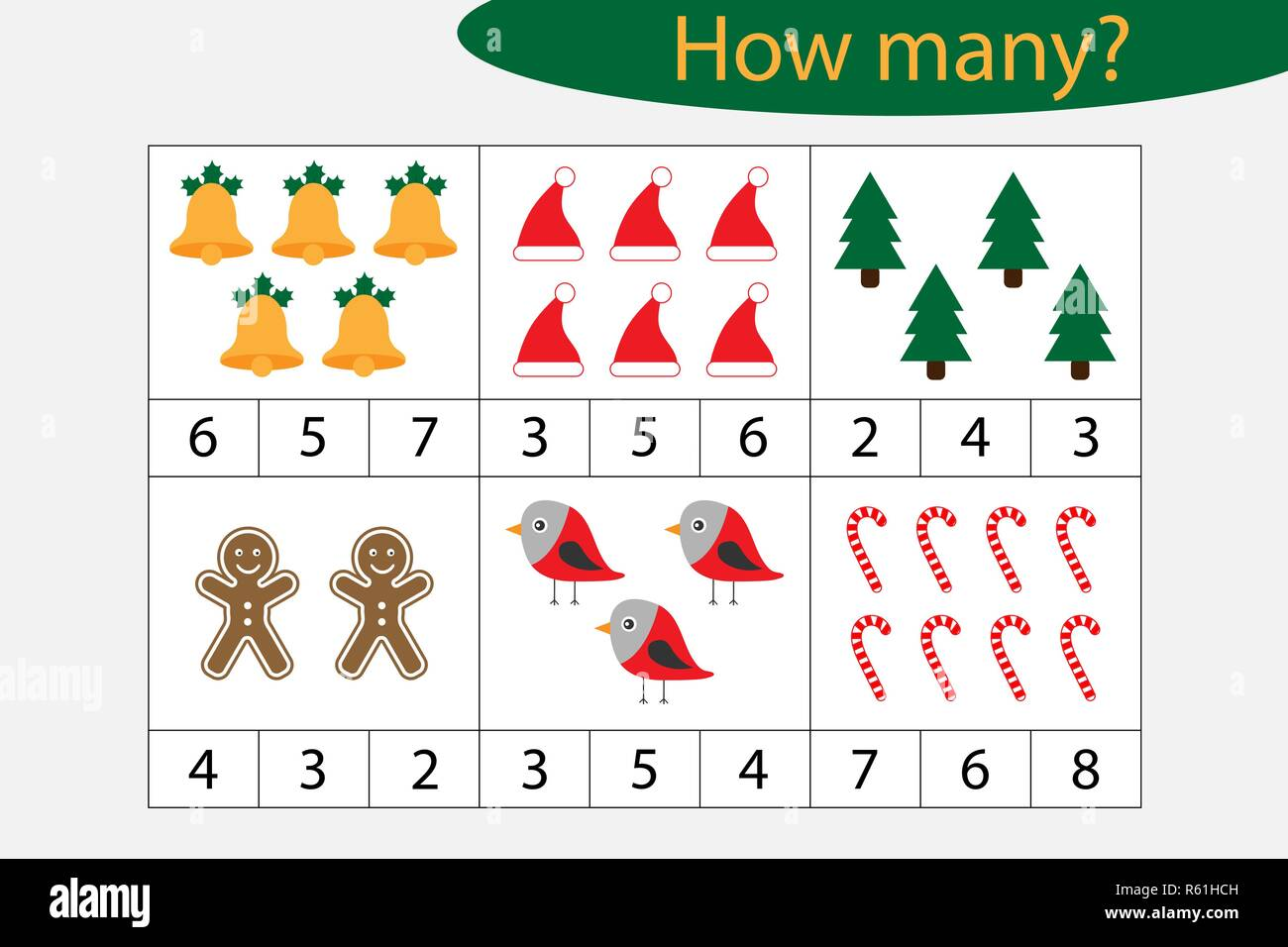 Wie Viele Zählen Spiel Mit Weihnachten Bilder Für Kinder
