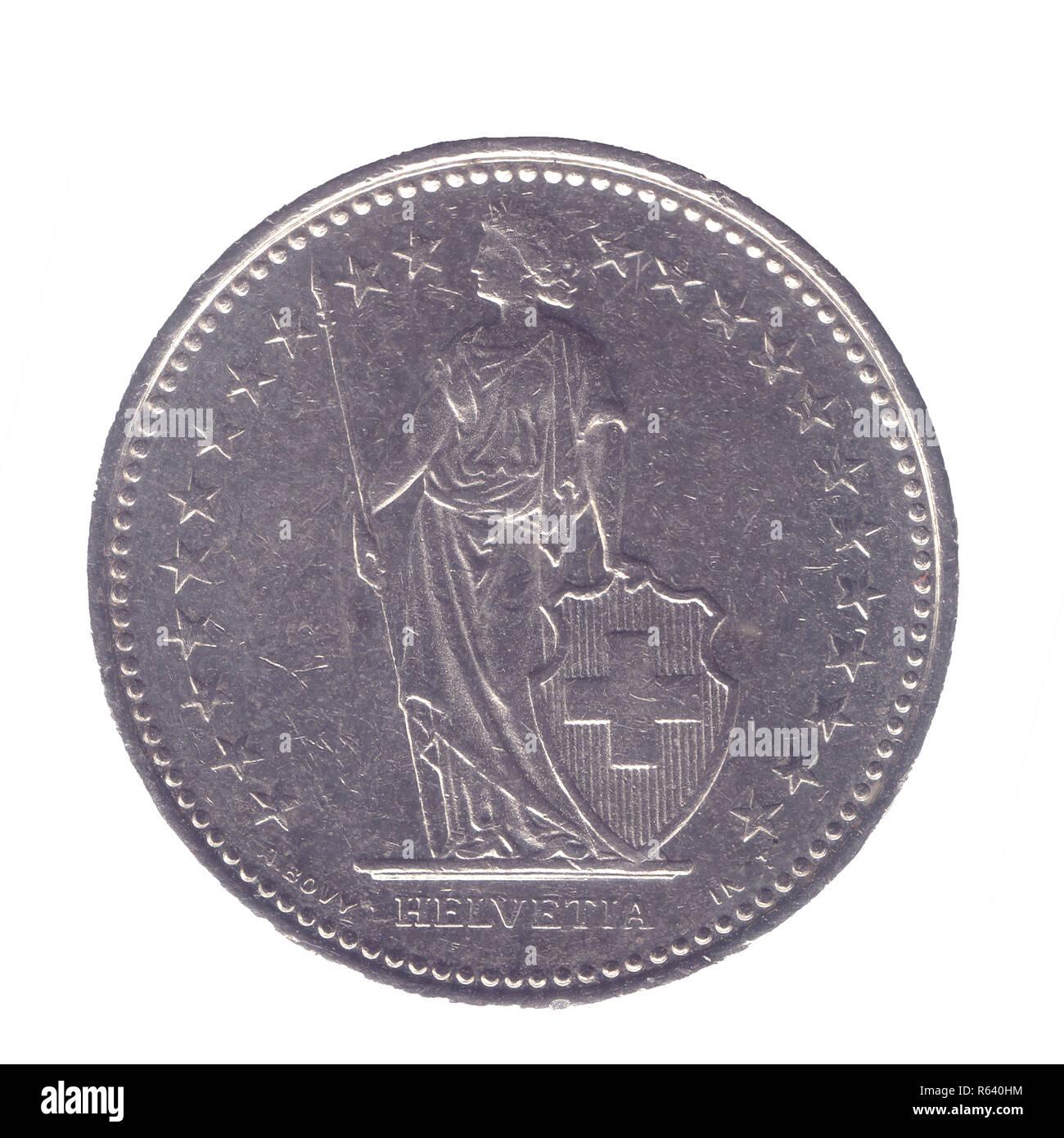 Silber Eine Halbe Schweizer Frank Münze 50 Cent Auf Weißem