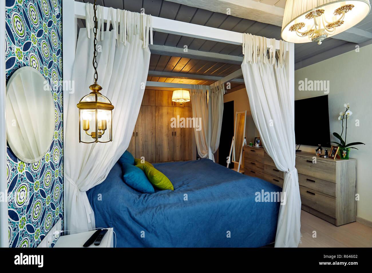 Moskau Russland 06062018 Schön Eingerichtete Schlafzimmer Mit