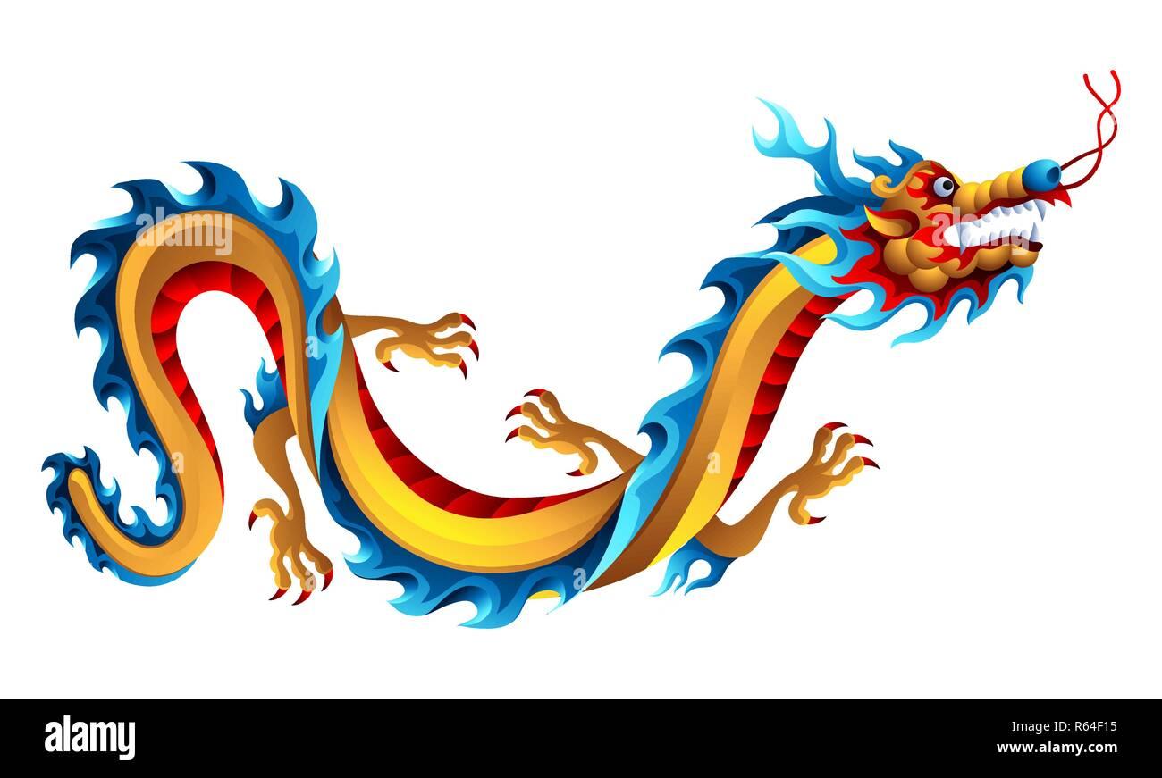 Abbildung Chinesischer Drache Maskottchen Oder Tatowierung Traditionelle China Symbol Asiatische Mythologische Farbe Tier Stock Vektorgrafik Alamy