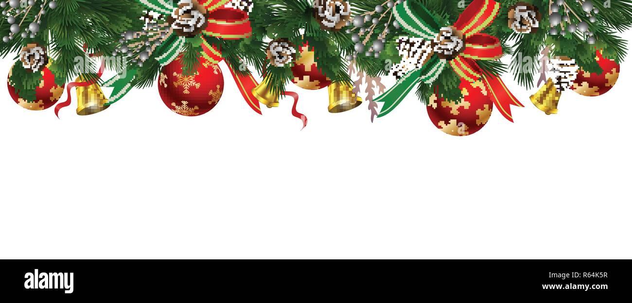 Weihnachtsbaum Girlande.Horizontale Banner Mit Weihnachtsbaum Girlande Vektor Abbildung