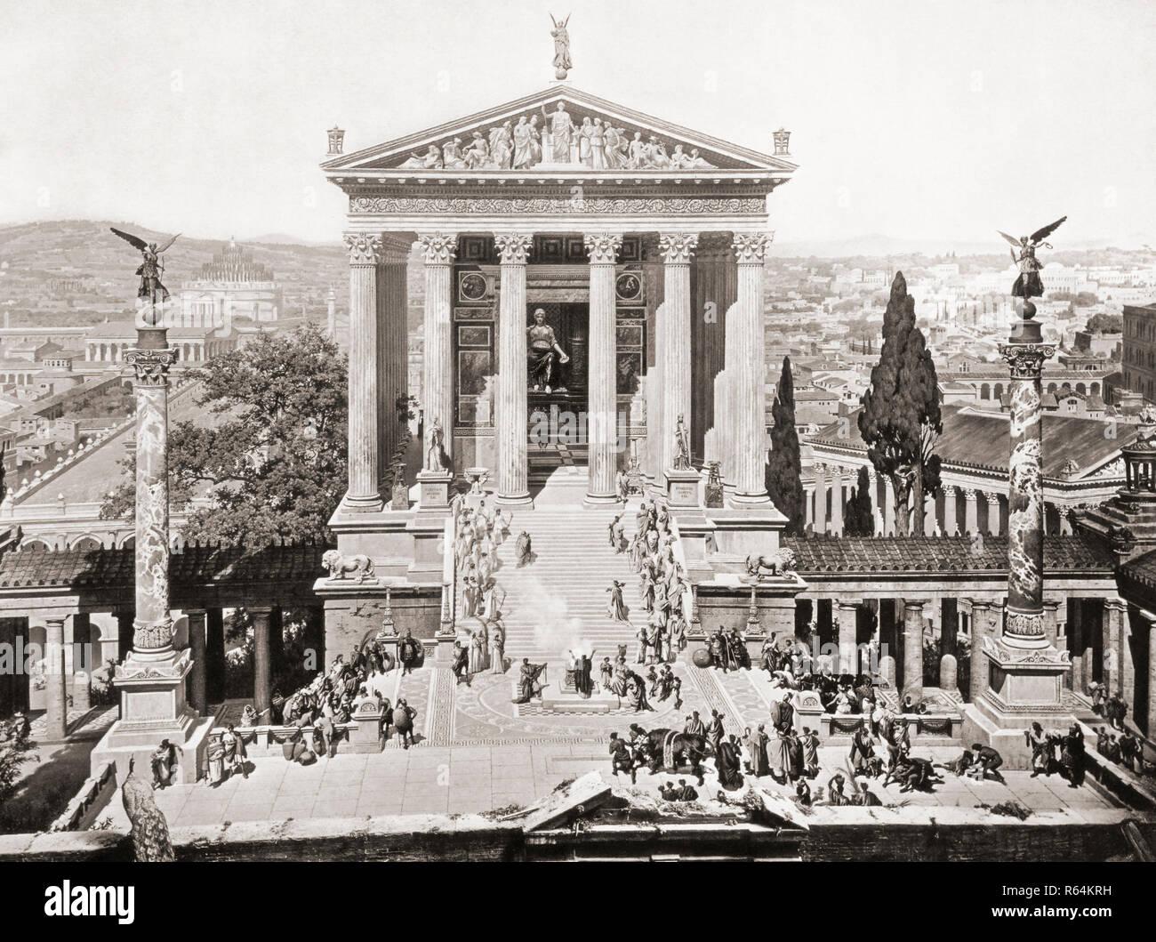 Der Tempel der Juno Moneta, da es in Rom 312 AD erschienen sind. Nach einem Abschnitt über einen Panoramablick auf die Malerei von Rom erstellt von Professor J. Bühlmann und Alexander Wagner und im leporello veröffentlicht, oder fold-out, Buch in München, 1892, betitelt das Alte Rom mit dem triumphzuge Kaiser Constantin im Jahre 312 Stockbild