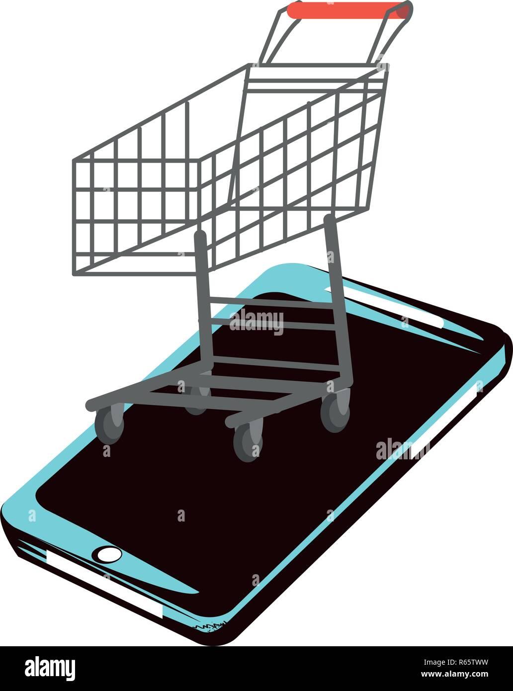 Smartphone mit Warenkorb Ihr Vector Illustration Design Stock Vektor