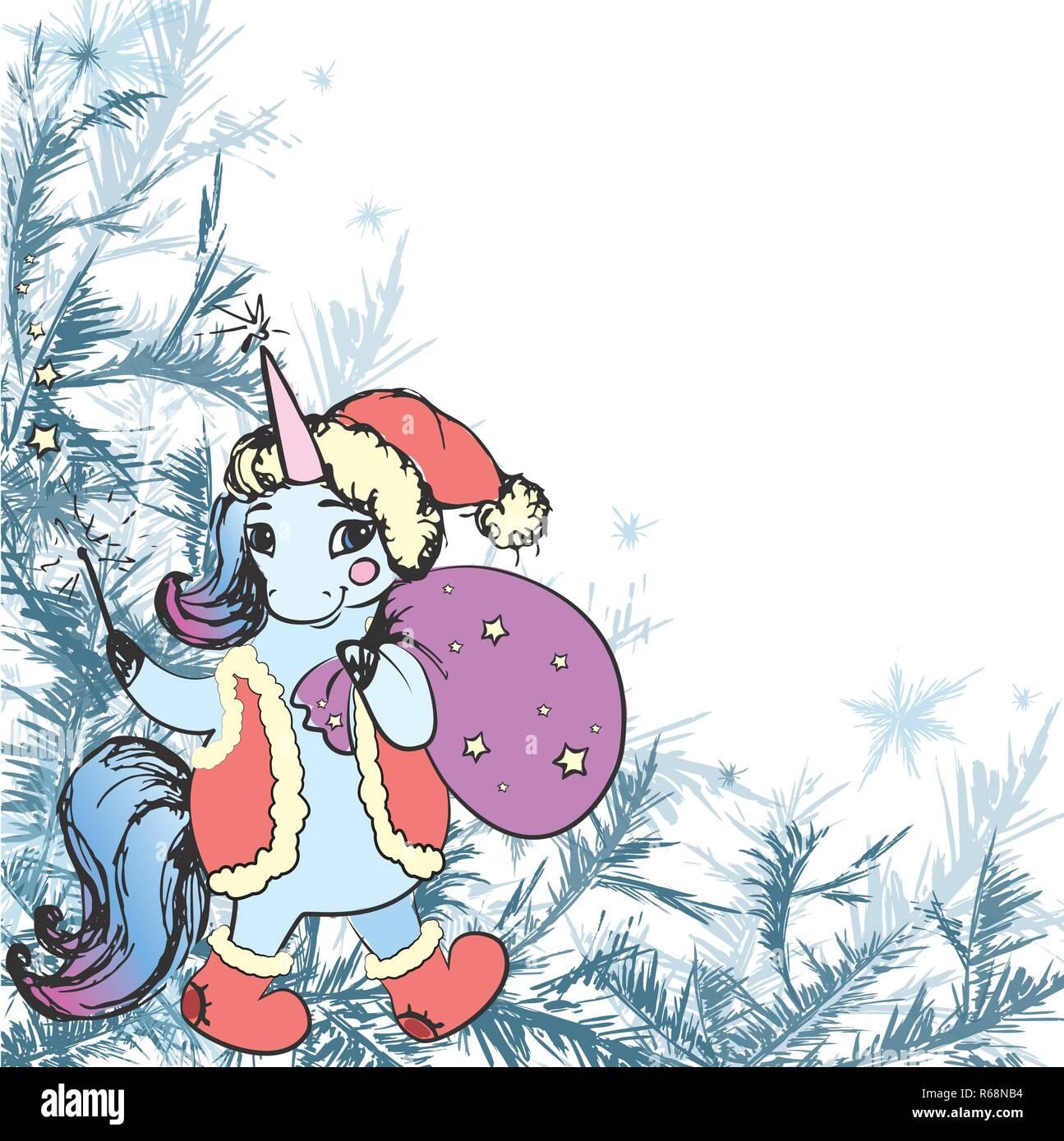 Frame Winter Frost Dekor Und Süße Weihnachten Einhorn Hand