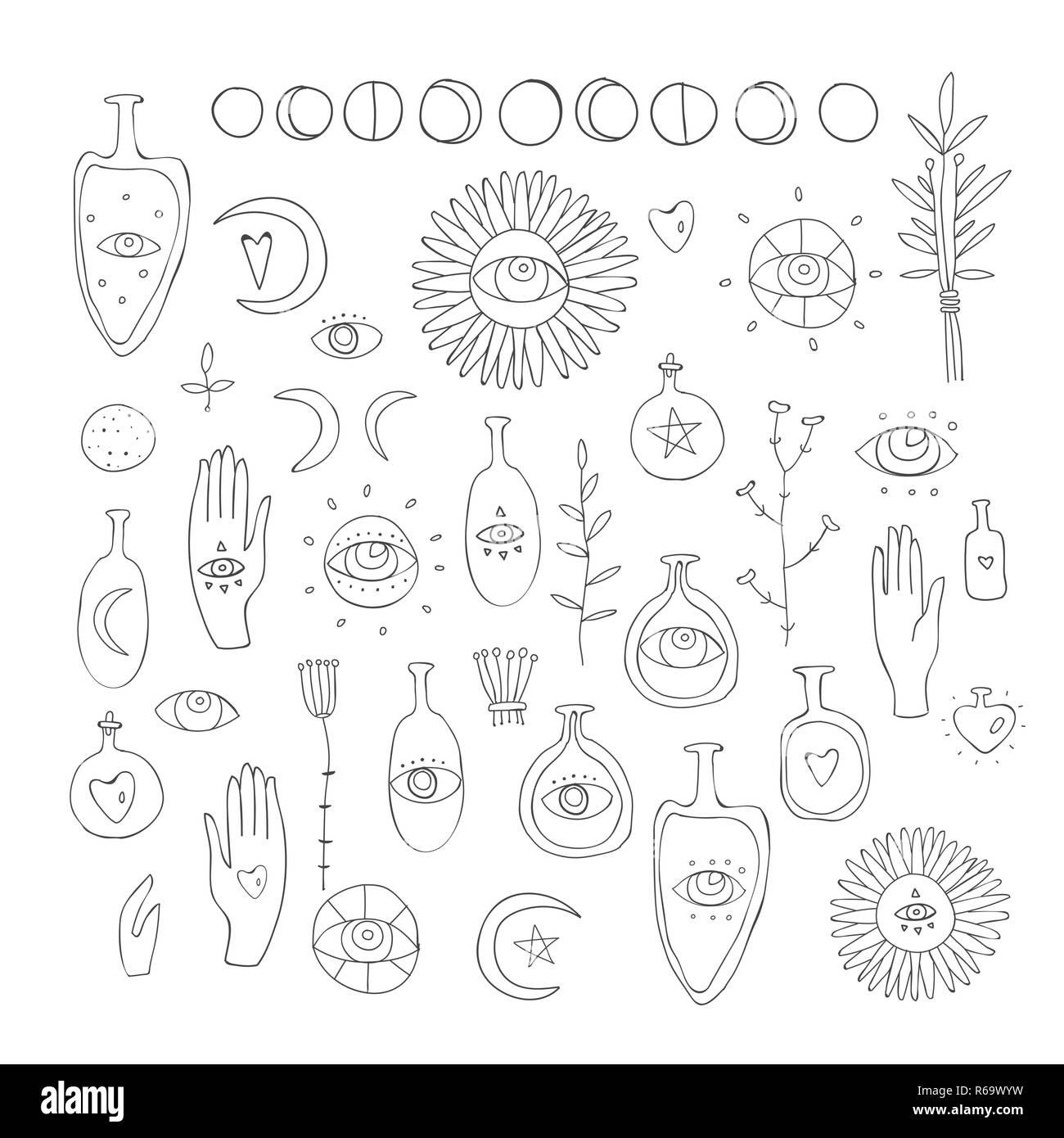 Hand Gezeichnet Vektor Design Elemente Zeichnung Der Esoterische
