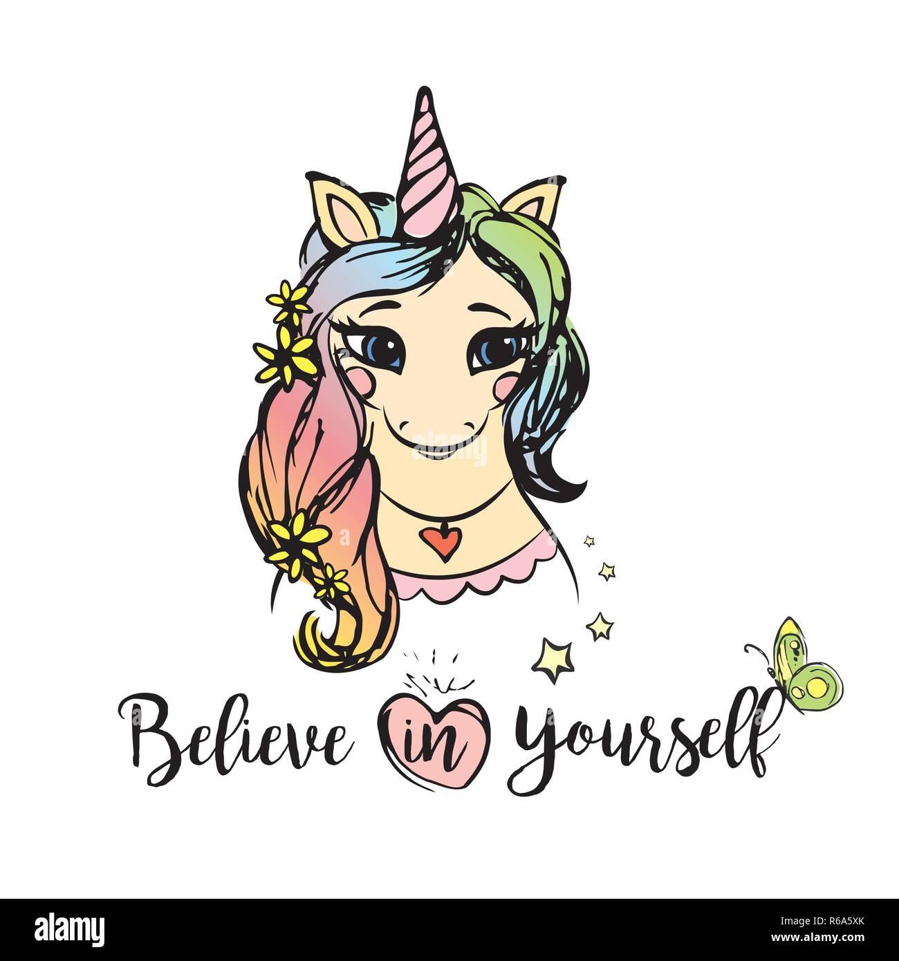 Susse Einhorn Madchen Mit Beschriftung Glauben Sie An Sich Selbst