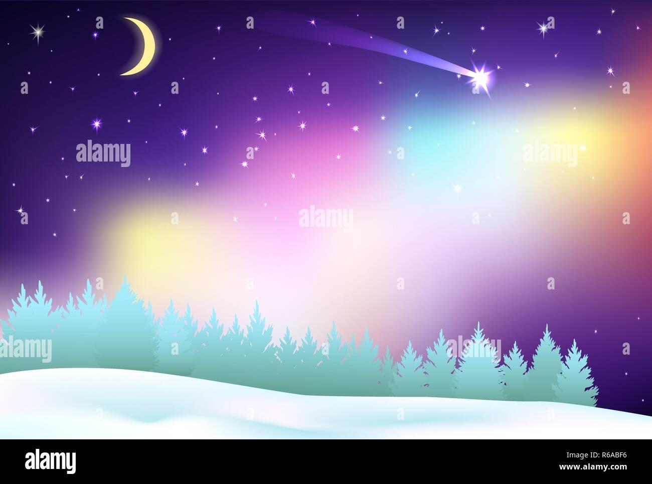 Fantastische Nordlichter über den Pinienwald und Winter Feld. Stockbild