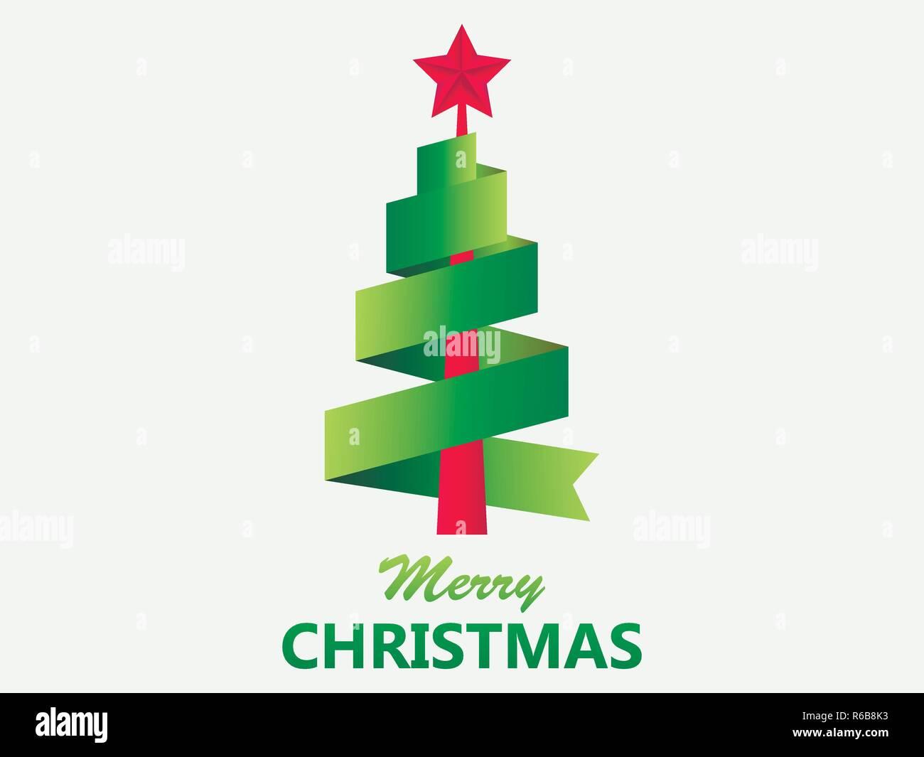 Stern Frohe Weihnachten.Frohe Weihnachten Grusskarte Weihnachtsbaum Aus Band Mit