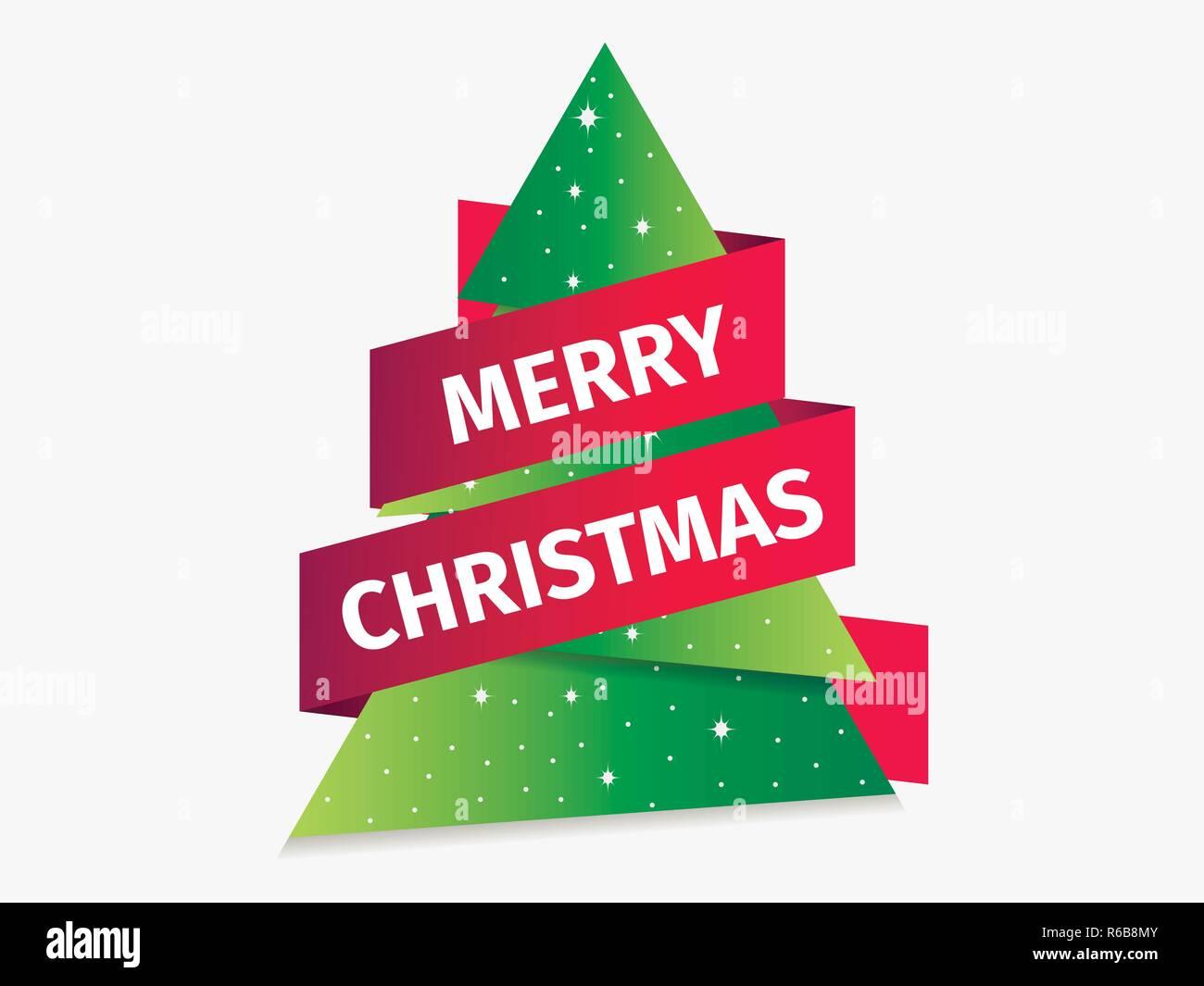 Frohe Weihnachten Band.Frohe Weihnachten Grußkarte Weihnachtsbaum Mit Band Papier Tanne