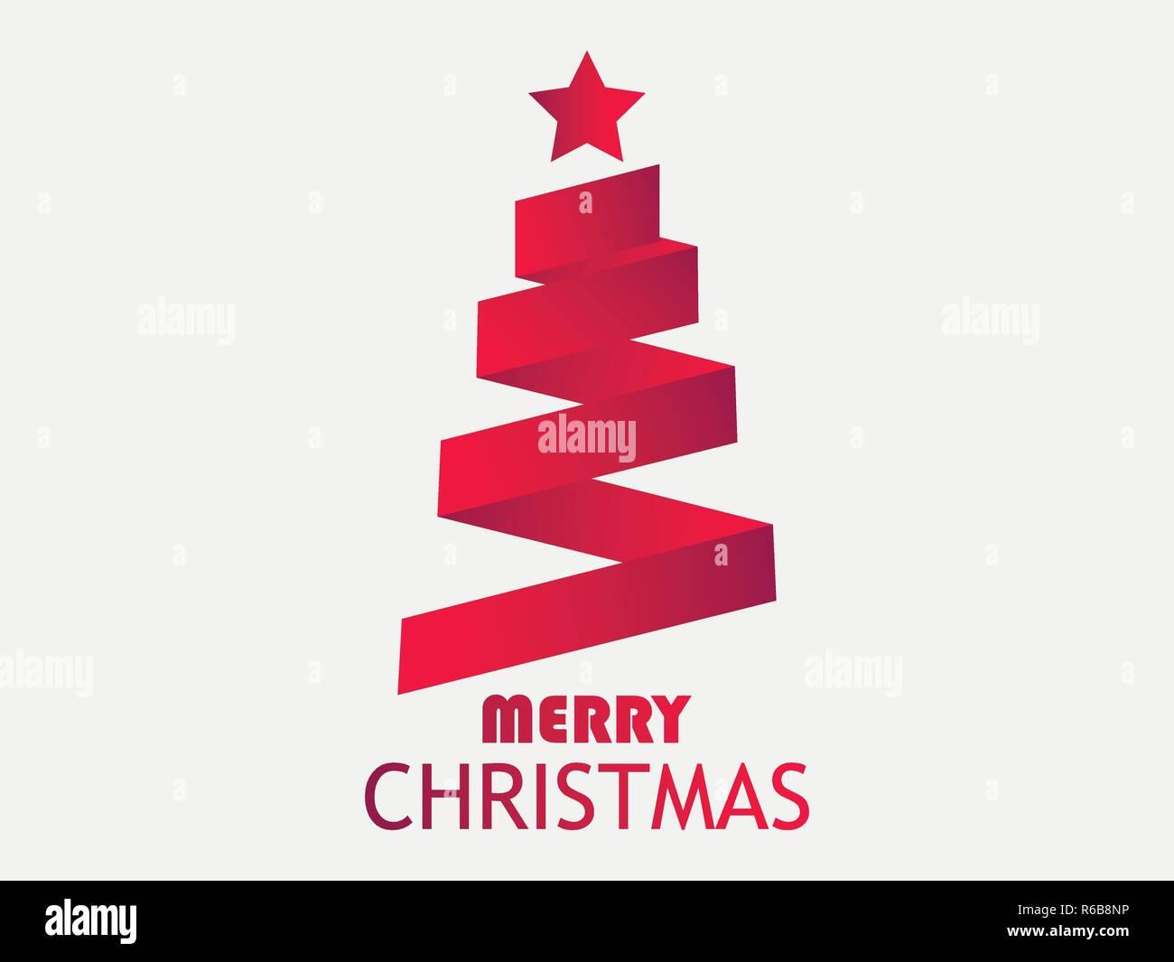 Frohe Weihnachten Band.Frohe Weihnachten Grußkarte Weihnachtsbaum Aus Band Mit Stern