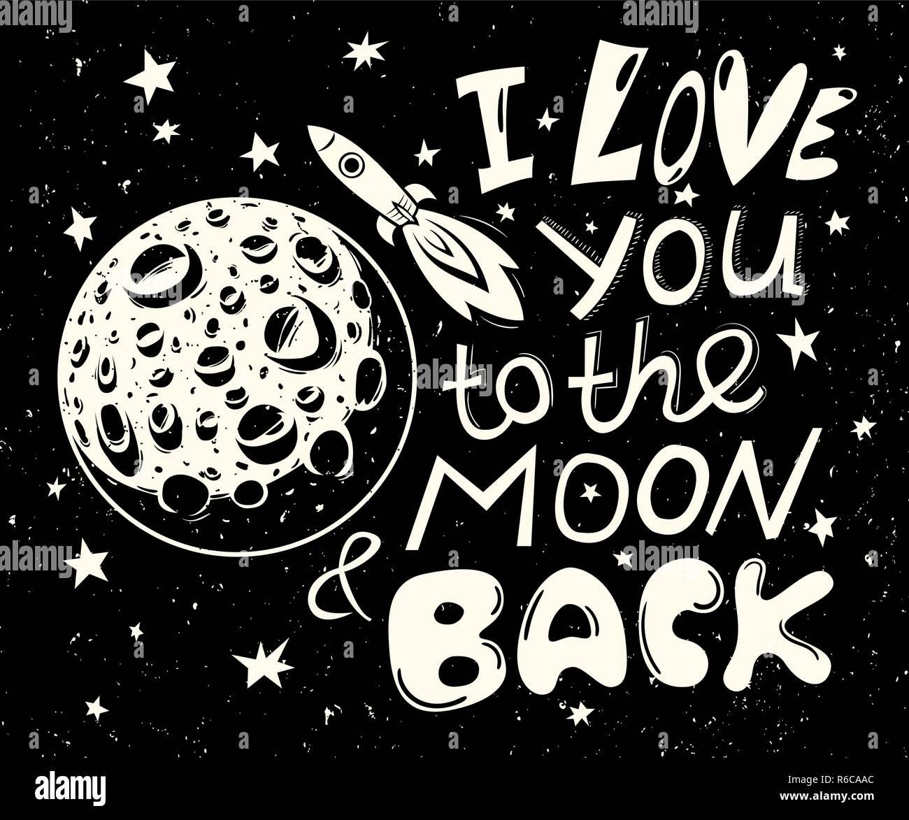 Ich liebe dich bis zum Mond und zurück Poster Vektor