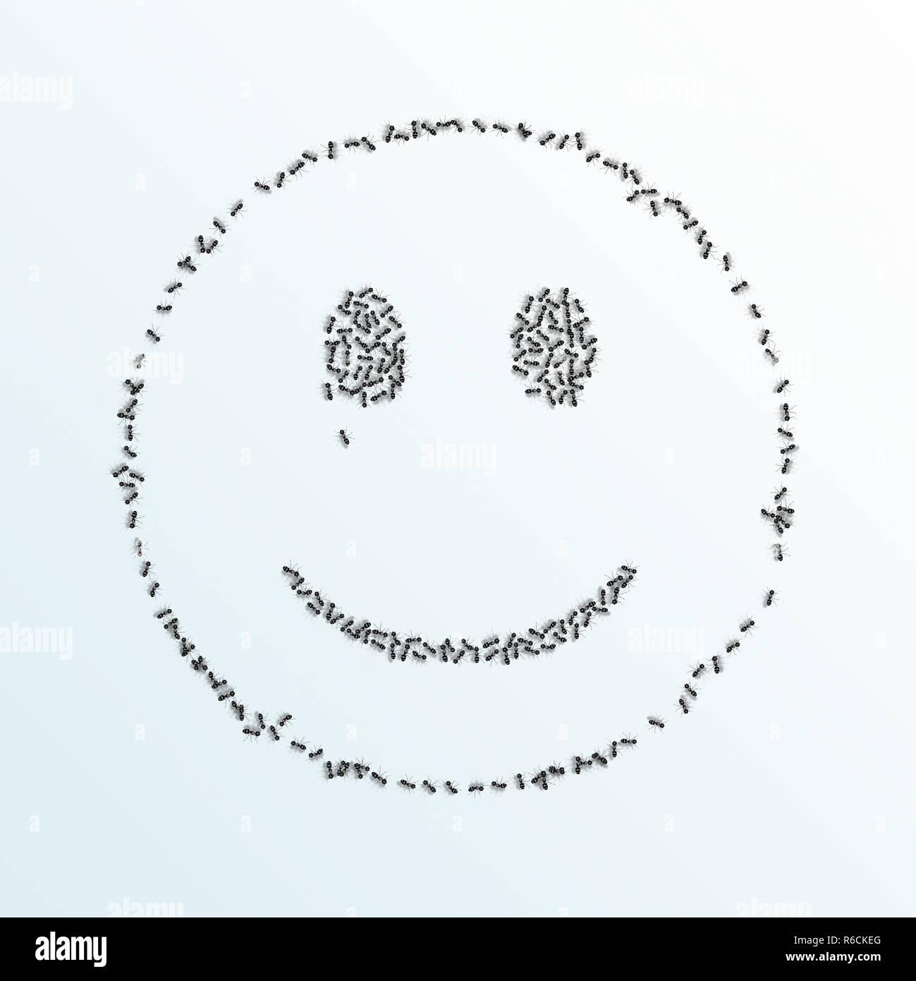 Monochrome digitales Bild von Ameisen bilden einen Überblick über einen Smiley auf weißem Hintergrund Stockbild