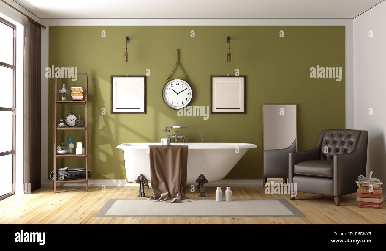 Green retro Badezimmer Stockfoto, Bild: 227725321 - Alamy