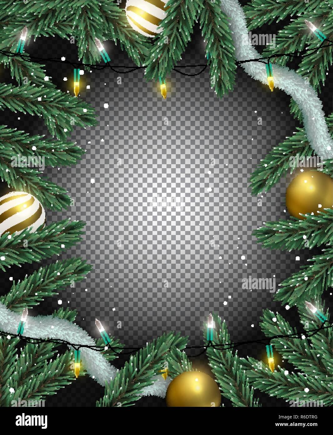 3d Weihnachtsbeleuchtung.Transparente Weihnachten Hintergrund Gold Christbaumkugel Ornamente