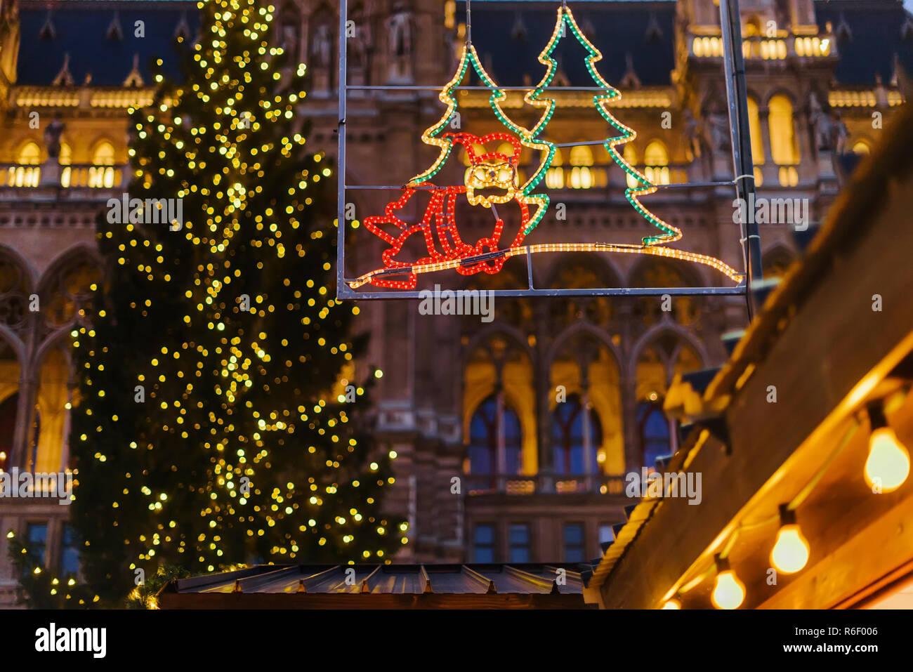österreich Weihnachtsbaum.Wien österreich 24 Dezember 2017 Beleuchtete Dekorative